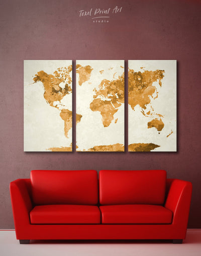 3 Panel Abstract World Map Wall Art Canvas Print - 3 Panels Abstract Map Animals Gilded world map wall art Gold
