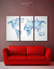 3 Panel Blue Abstract World Map Wall Art Canvas Print