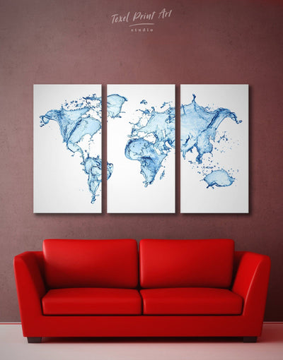 3 Panel Blue Abstract World Map Wall Art Canvas Print - 3 Panels Abstract Abstract map abstract world map wall art aqua wall art