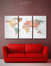 3 Panel Brown Map Wall Art Canvas Print
