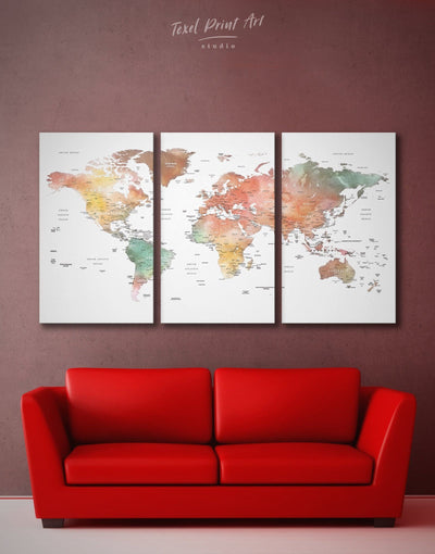3 Panel Brown Map Wall Art Canvas Print - 3 Panels Brown Labeled world map Living Room Office Wall Art