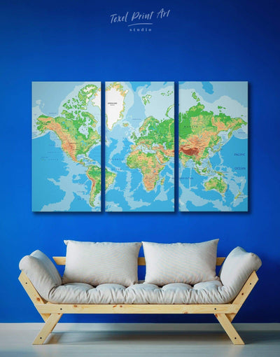 3 Panel Classic Map Wall Art Canvas Print - 3 Panels Blue blue and green wall art Living Room Office Wall Art