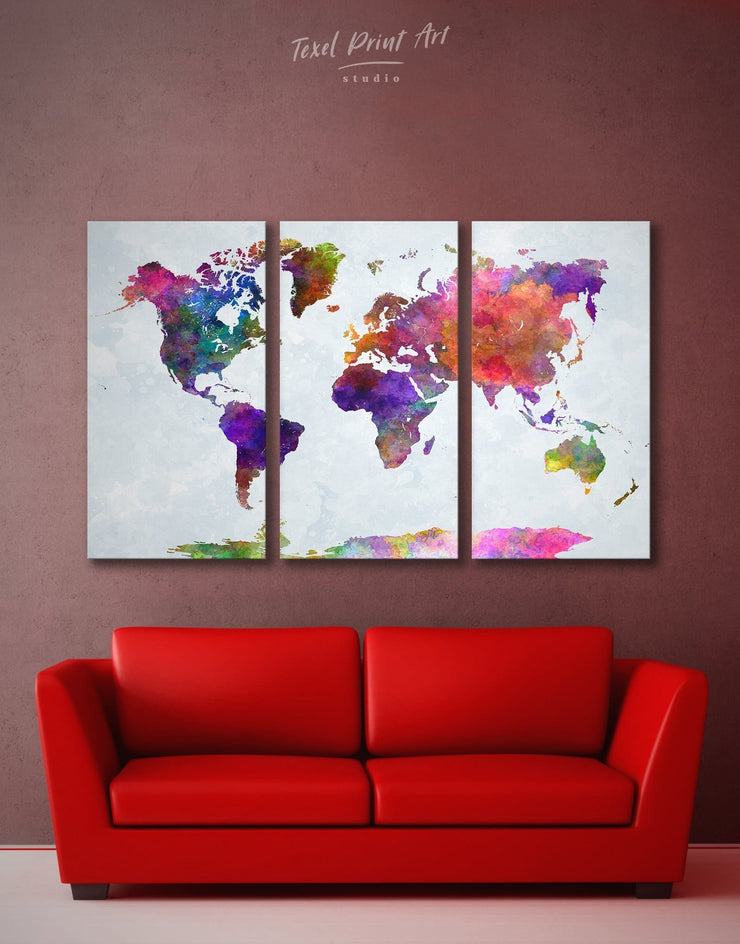 3 Panel Colorful World Map Wall Art Canvas Print - 3 Panels Abstract map abstract world map wall art bedroom Living Room