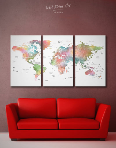 3 Panel Detailed Watercolor Map Wall Art Canvas Print - 3 Panels Labeled world map Living Room Office Wall Art Push pin travel map
