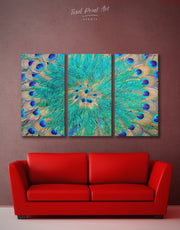 3 Panel Peacock Feathers Wall Art Canvas Print