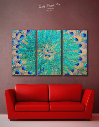 3 Panel Peacock Feathers Wall Art Canvas Print - 3 Panels Abstract Blue Abstract Wall art Blue wall art for living room Feather Wall Art