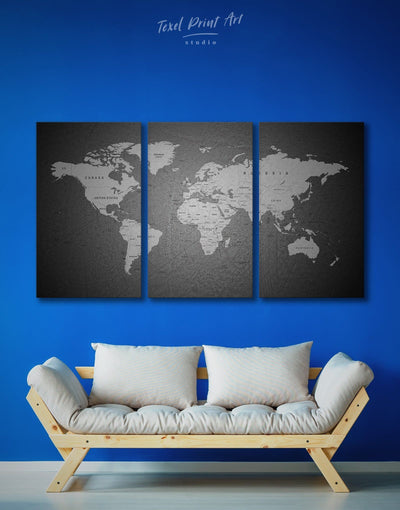 3 Panel Travel Map Wall Art Canvas Print - 3 Panels black and grey wall art black and silver wall art Contemporary contemporary wall art
