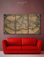 3 Panel Vintage World Wall Art Canvas Print