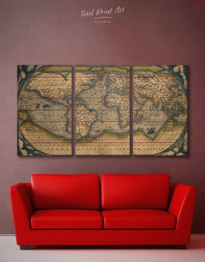 3 Panel Vintage World Wall Art Canvas Print - 3 Panels Antique world map canvas bedroom Brown Hemisphere World Map