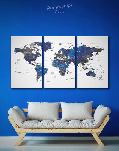 3 Panel Watercolor Grey and Blue Map Wall Art Canvas Print - 3 Panels bedroom blue and gray wall art Blue wall art for living room Office