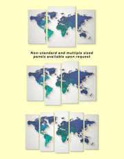 3 Panel World Map Abstract Wall Art Canvas Print