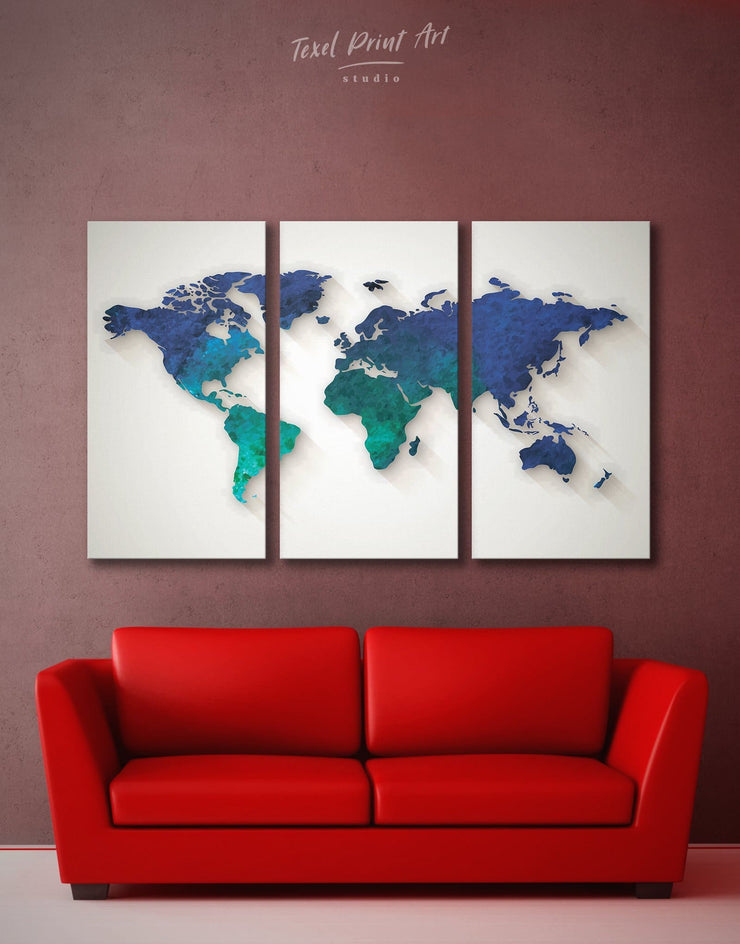 3 Panel World Map Abstract Wall Art Canvas Print - 3 Panels Abstract abstract world map wall art bedroom Blue Abstract Wall art