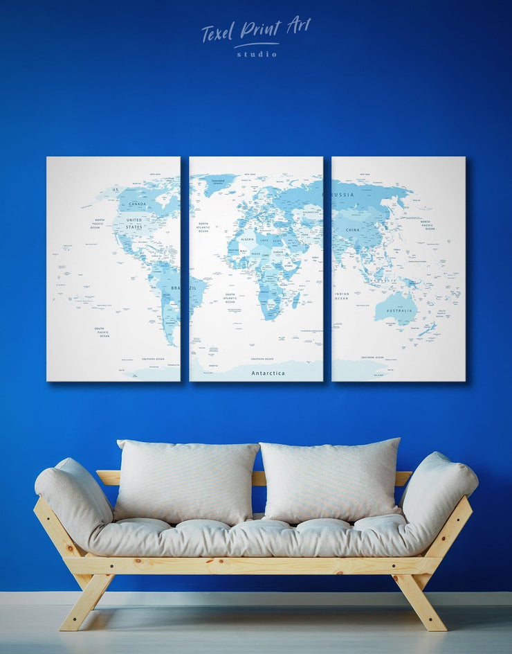 3 Panel World Map Wall Art Canvas Print - 3 Panels Blue Blue Abstract Wall art blue and white blue wall art for bedroom
