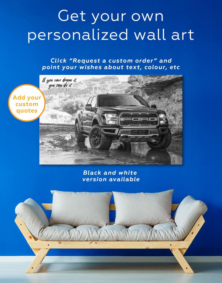 3 Panels 2017 Ford F-150 Raptor Wall Art Canvas Print - 3 Panels bachelor pad Car garage wall art manly wall art