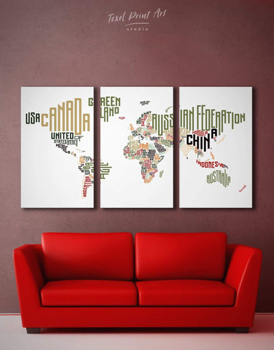 3 Panels Absctract Typography Map Wall Art Canvas Print - 3 Panels Abstract map bedroom Contemporary Living Room