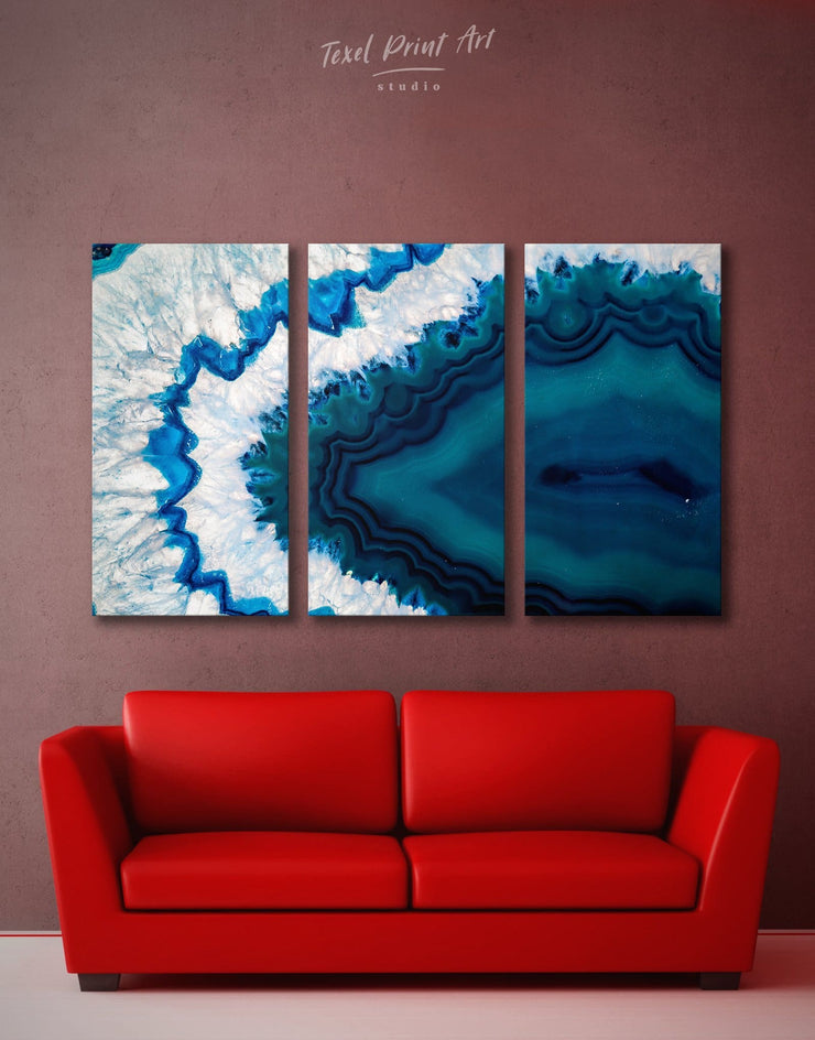 3 Panels Abstract Geode Wall Art Canvas Print - 3 Panels Abstract bedroom blue blue and white