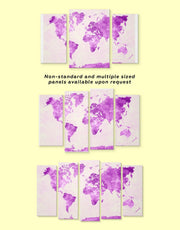 3 Panels Abstract Violet World Map Wall Art Canvas Print