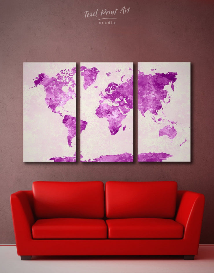 3 Panels Abstract Violet World Map Wall Art Canvas Print - 3 Panels Abstract Abstract map bedroom Living Room