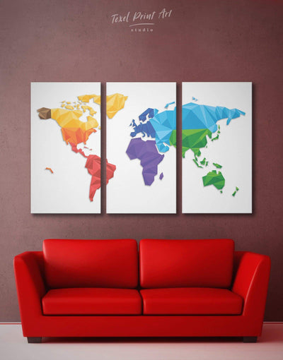 3 Panels Abstract World Map Wall Art Canvas Print - 3 Panels Abstract map geometric world map Living Room minimalist wall art