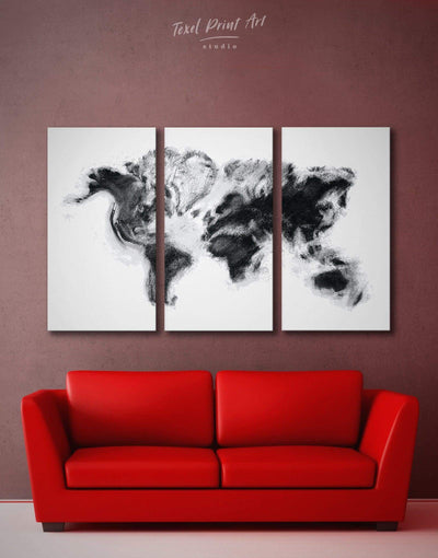 3 Panels Abstract World Map Wall Art Canvas Print - 3 Panels Abstract Abstract map bedroom Black
