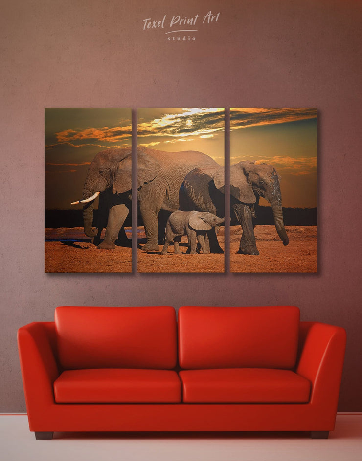 3 Panels African Sunset and Elephants Wall Art Canvas Print - 3 Panels Animal Animals bedroom Brown