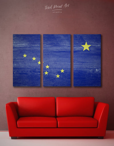 3 Panels Alaska State Flag Wall Art Canvas Print - 3 Panels bedroom blue flag wall art Hallway