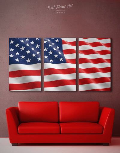 3 Panels American Flag Wall Art Canvas Print - 3 Panels American flag bedroom blue Flag Wall Art