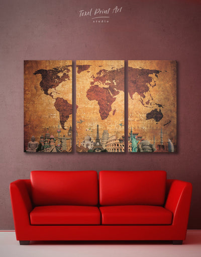 3 Panels Ancient World Map Wall Art Canvas Print - 3 Panels Abstract Abstract map bedroom Brown