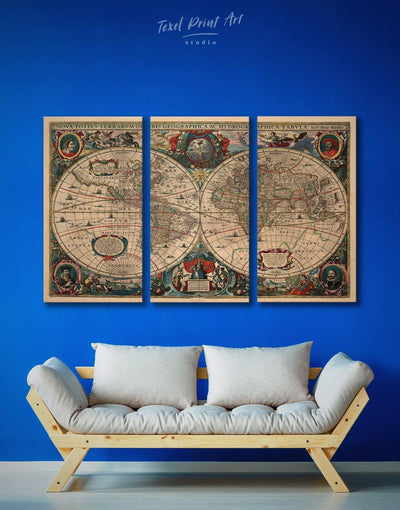 3 Panels Antique Wall Art Canvas Print - 3 Panels Antique Antique world map canvas bedroom Brown