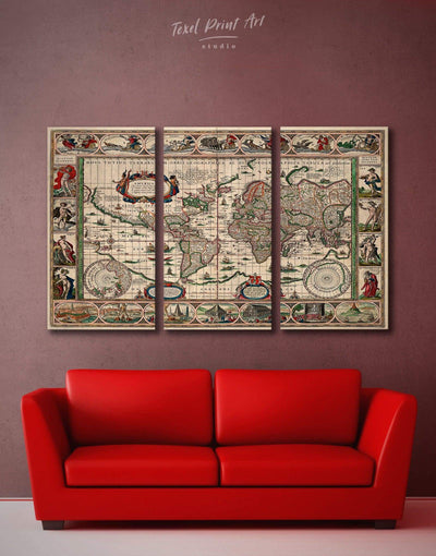 3 Panels Antique World Map Wall Art Canvas Print - 3 Panels Antique Antique world map canvas bedroom Living Room