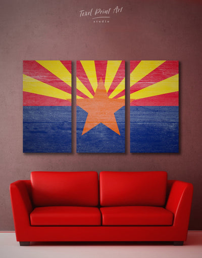 3 Panels Arizona Flag Wall Art Canvas Print - 3 Panels blue flag wall art Hallway Living Room