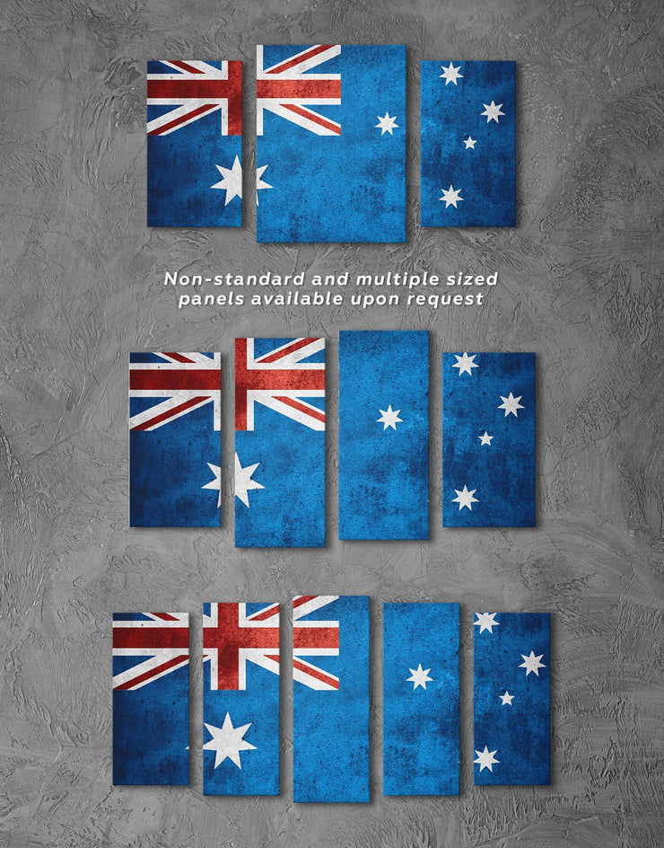 3 Panels Australian Flag Wall Art Canvas Print - 3 Panels blue Flag Wall Art Office Wall Art Patriotic