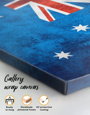 3 Panels Australian Flag Wall Art Canvas Print