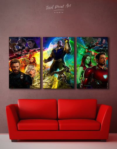 3 Panels Avengers Wall Art Canvas Print - 3 Panels bachelor pad bedroom Hallway Living Room