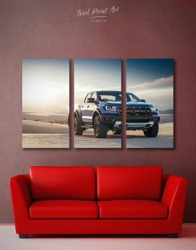 3 Panels Baby Ford Raptor Wall Art Canvas Print - 3 Panels bachelor pad car garage wall art wall art for men