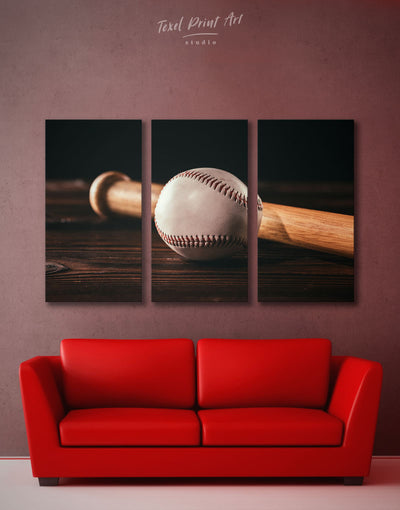 3 Panels Ball and Bat Baseball Wall Art Canvas Print - 3 Panels bachelor pad baseball baseball wall art bedroom
