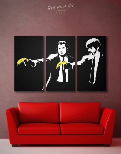 3 Panels Banksy Pulp Fiction Wall Art Canvas Print - 3 Panels banksy banksy wall art bedroom black