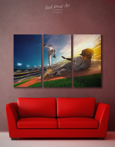 3 Panels Baseball Sport Wall Art Canvas Print - 3 Panels bachelor pad baseball inspirational wall art manly wall art