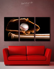 3 Panels Baseball Sports Wall Art Canvas Print