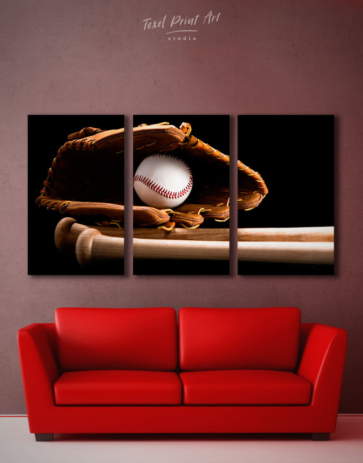 3 Panels Baseball Sports Wall Art Canvas Print - 3 Panels bachelor pad baseball baseball wall art bedroom