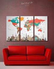 3 Panels Beautiful Map of the World Wall Art Canvas Print