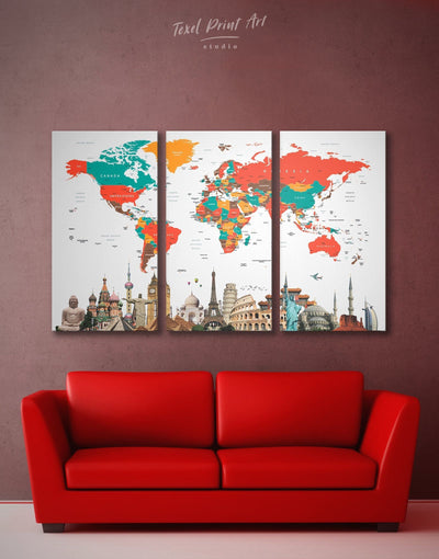 3 Panels Beautiful Map of the World Wall Art Canvas Print - 3 Panels Abstract Abstract map bedroom Contemporary