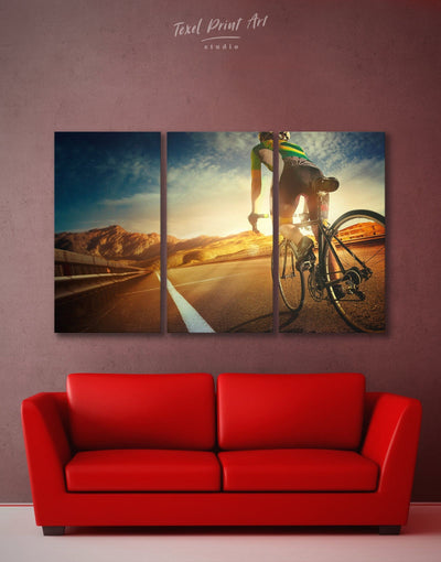 3 Panels Bicycle Sport Wall Art Canvas Print - 3 Panels bicycle wall art inspirational wall art Living Room Motivational