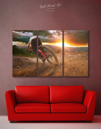 3 Panels Bicycle Sporting Wall Art Canvas Print - 3 Panels bachelor pad bicycle wall art Brown Hallway