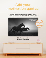 3 Panels Black Running Horse Wall Art Canvas Print