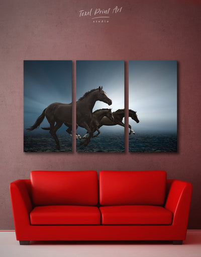 3 Panels Black Running Horse Wall Art Canvas Print - 3 Panels Animal Animals bedroom black