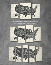 3 Panels Black USA Map Wall Art Canvas Print