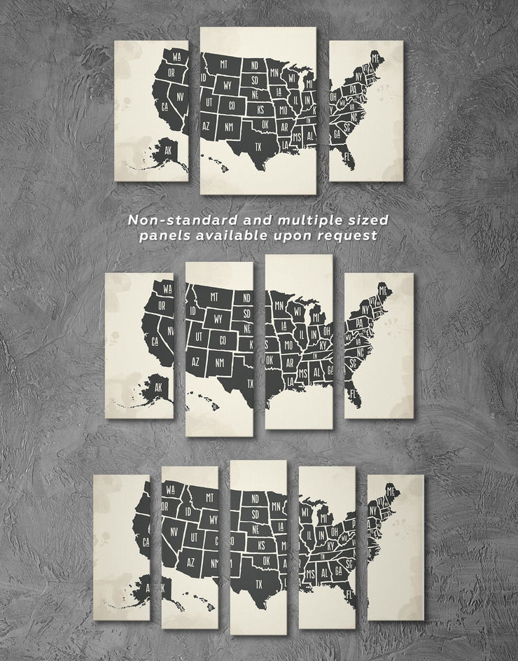 3 Panels Black USA Map Wall Art Canvas Print - 3 Panels bedroom black black and white wall art Contemporary