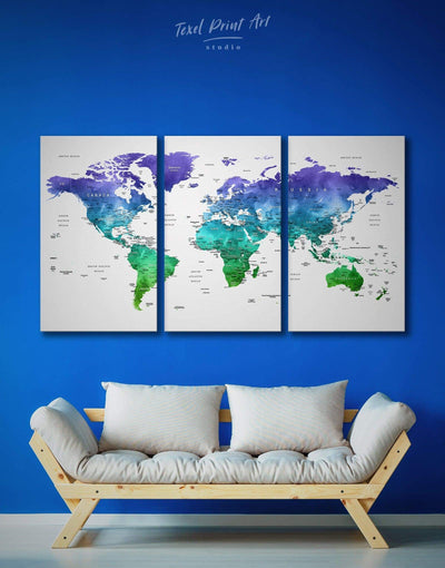 3 Panels Blue and Green Watercolor Map Wall Art Canvas Print - 3 Panels bedroom Blue blue wall art for bedroom Blue wall art for living room