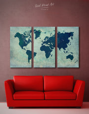 3 Panels Blue Colors World Map Wall Art Canvas Print